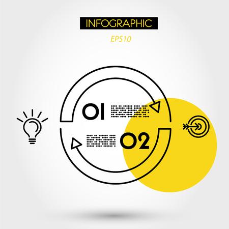 yellow linear infographics circle arcs,m two options 向量圖像