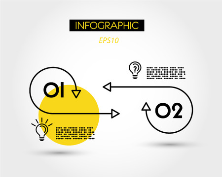 yellow linear two infographic options, two options