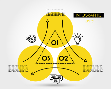 yellow linear infographic triangle with ring, three options