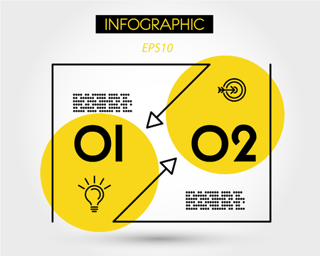 yellow linear simple infographic with two options, outline concept