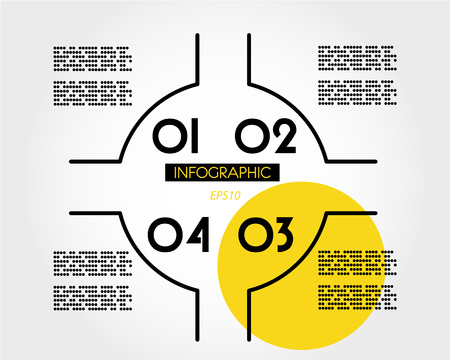 yellow linear infographic magazine template, four options