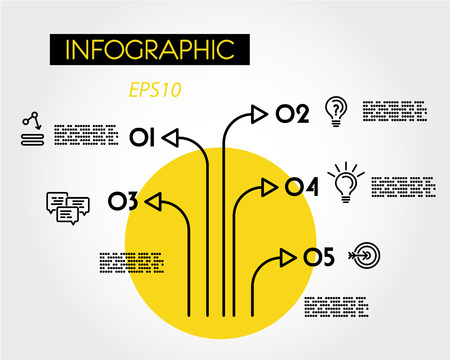 yellow linear infographic tree, five options 向量圖像