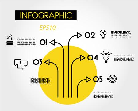 yellow linear infographic tree, five options Иллюстрация