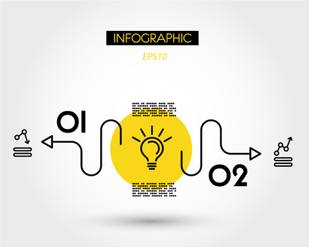 yellow linear simple infographics with bulb, two options 向量圖像