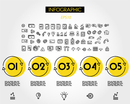 yellow linear infographic five circles, outline concept