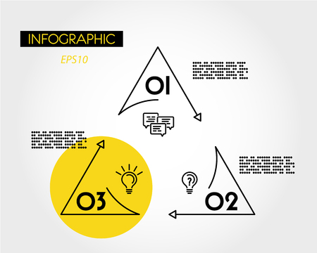 yellow linear infographic triangle with circle, three options Иллюстрация