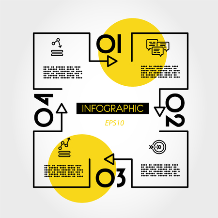 yellow linear infographic square with square, two options