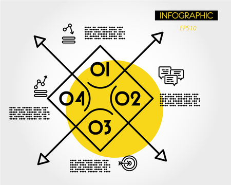 yellow big linear infographic square with arrows, four options