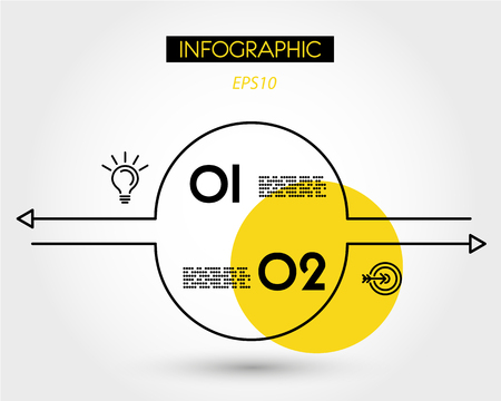 yellow linear infographic set of circles with arrows, two options Иллюстрация