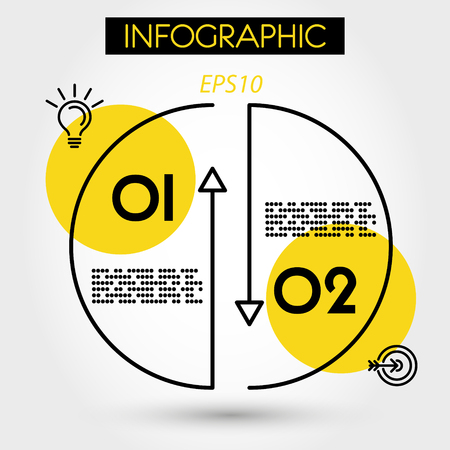 two yellow infographic arrows, two options