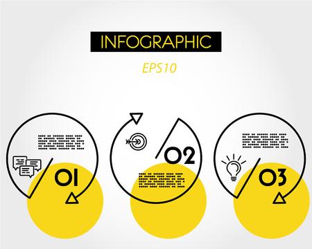 yellow linear infogaphic set of circles, three options
