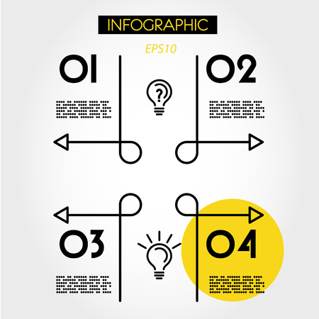 yellow linear infographics template with curves, four options 向量圖像