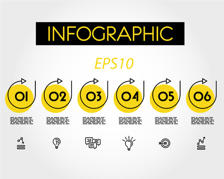 yellow linear infographic set of rings with arrows, six options Иллюстрация