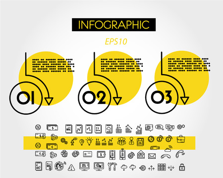 yellow linear infographic set of rings, three options 向量圖像