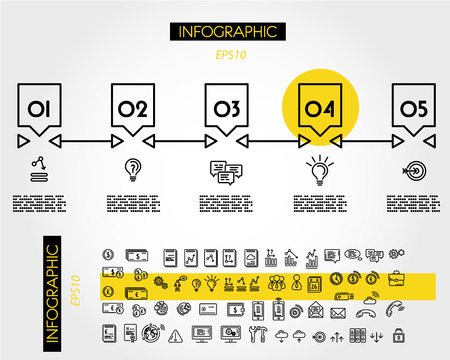 yellow linear infographic timeline with arrows, five options 向量圖像