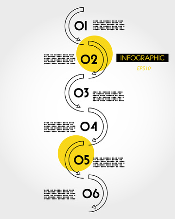 yellow linear infographic vertical wave, six options 向量圖像