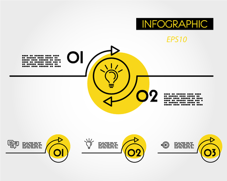 yellow linear infographic arc with ring, two options Иллюстрация