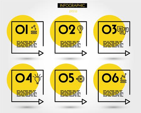 yellow linear square timeline elements, six options 版權商用圖片 - 125692765