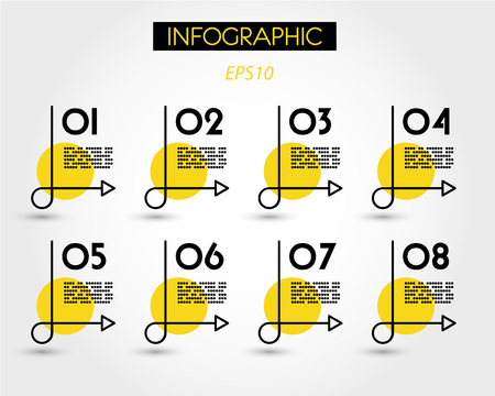 yellow infographics with simple curve, three options