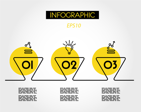 yellow linear rounded infographic triangles, three options