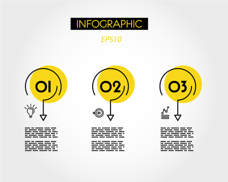 yellow linear infographic rings with arrows, three options
