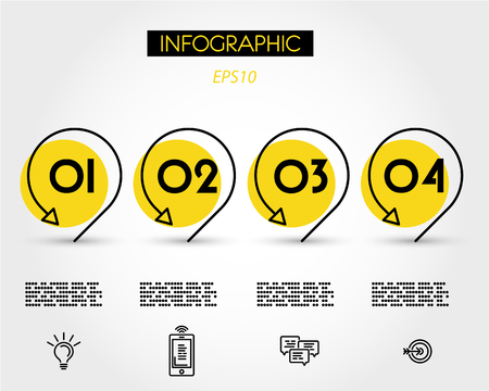yellow infographics with pointers, foutr options 版權商用圖片 - 125692768
