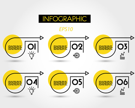 yellow infographic options with square and arrows, six options 版權商用圖片 - 125692769