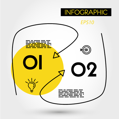 yellow rounded linear infographics with curves, two options 向量圖像