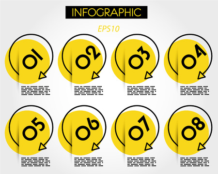yellow linear round infographic marker, six options 向量圖像