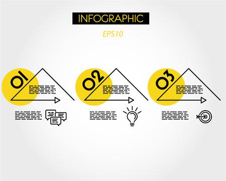 three yellow linear infographic triangles, three steps 向量圖像