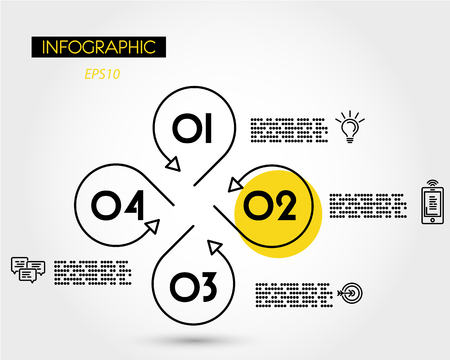 yellow linear roud infopgraphic template with icons, four options 版權商用圖片 - 125692773
