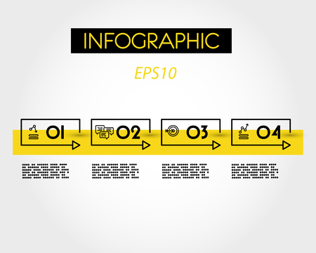 yellow rectangular linear infographic timeline, four options 向量圖像