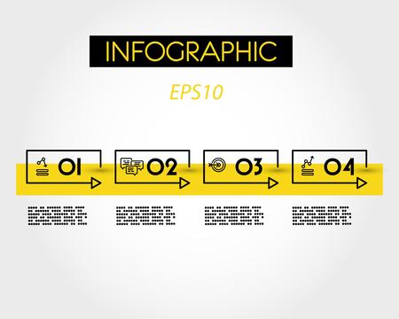 yellow rectangular linear infographic timeline, four options Иллюстрация