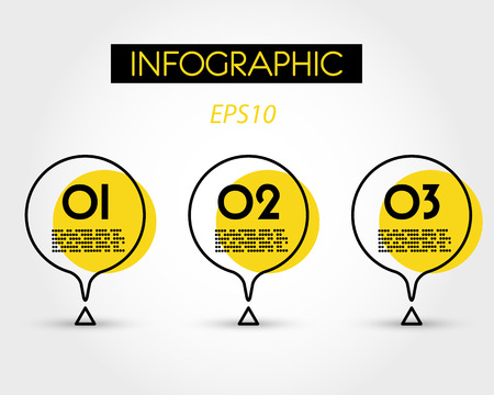 yellow circle infographic with triangle and drop, three options