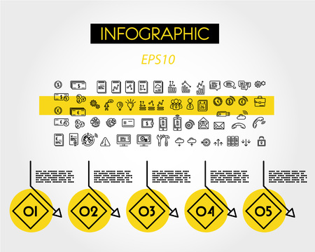 yellow linear infographic diamonds with numbers, five options Ilustração