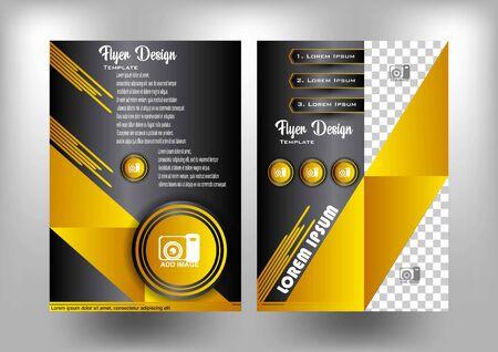 flyer design gold and dark theme Ilustração