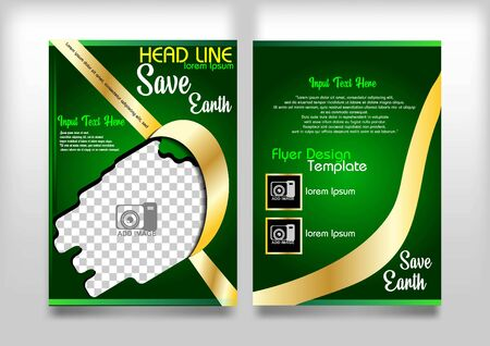 flyer design vector, go green and save earth