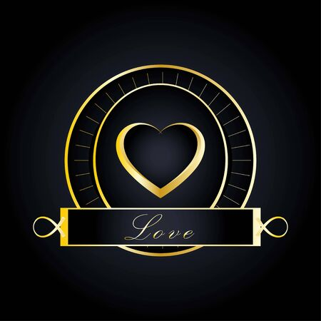 heart symbol design with gold color and luxury theme combined with circle which gives an element of retro