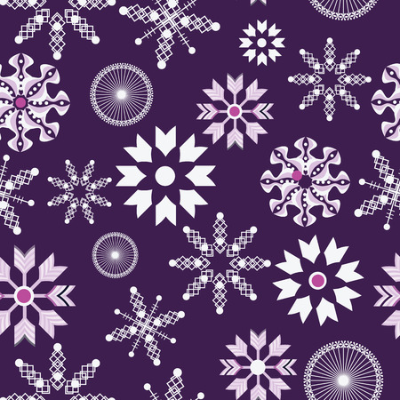 Purple and wite snowflakes Christmas seamless pattern. Modern and festive design great for invitations, fabric, wallpaper, giftwrap. Surface pattern design.
