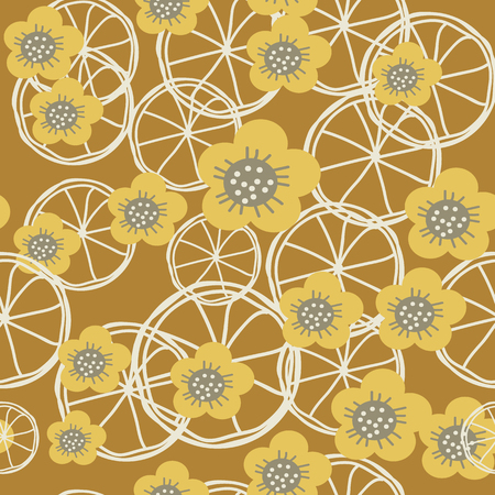 Yellow,grey and white flowers and lemons on brown background seameless repeat. Great for invitations, fabric, wallpaper, giftwrap, scrapbook paper. Surface pattern design. Vettoriali