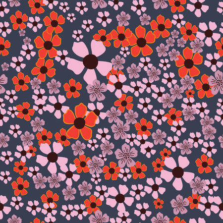 Red,pink and purple hand drawn flowers on green background seamless pattern.Great for invitations, fabric, wallpaper, giftwrap, scrapbook paper. Surface pattern design. Illustration