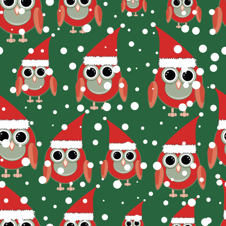 Owl Santa on green background seamless pattern. Modern and festive design great for invitations, fabric, wallpaper, giftwrap. Surface pattern design.