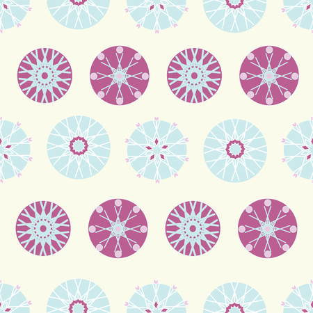 Purple, light yellow and baby blue Christmas ornaments surface pattern design. Modern and festive design great for invitations, fabric, wallpaper, giftwrap. Surface pattern design.