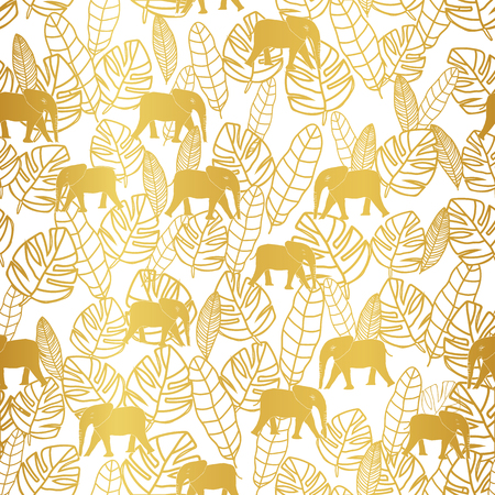 Tropical gold leaves and elephant on white background seameless repeat. Modern design great for invitations, fabric, wallpaper, giftwrap. Surface pattern design.