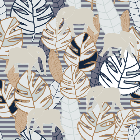 Tropical beige and grey leaves with beige elephant on grey stripes background seameless repeat. Modern design great for invitations, fabric, wallpaper, giftwrap. Surface pattern design.