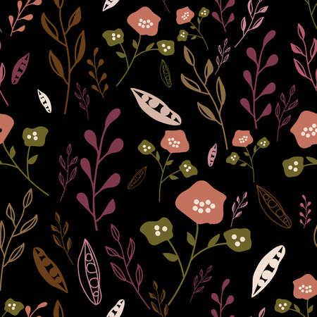 Colorful abstract hand drawn flowers on dark background seamless pattern. Whimsical design great for invitations, fabric, wallpaper, giftwrap, colouring pages. Surface pattern design. 向量圖像