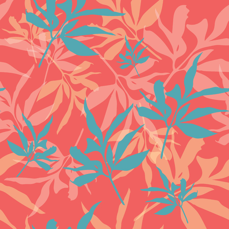 Orange and green leaves on coral background seameless repeat.