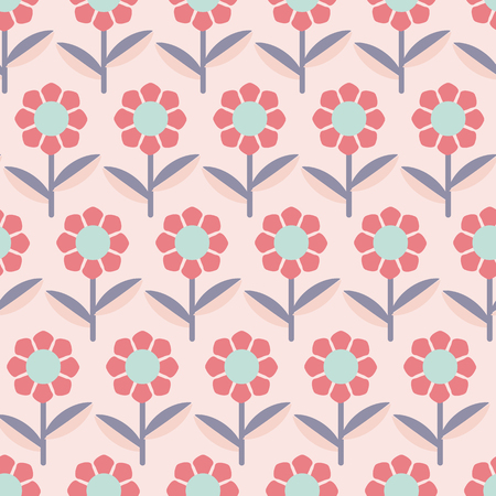 Modern abstract flowers on pink background seamless pattern. Great for invitations, fabric, wallpaper, gift-wrap. Surface pattern design. Ilustrace