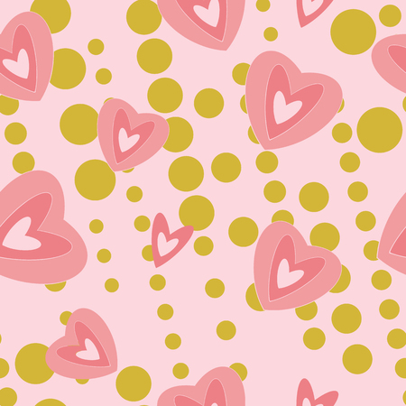 Modern hearts on pink and gold background seamless pattern. Great for invitations, fabric, wallpaper, gift-wrap. Surface pattern design.