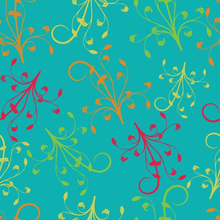 Ramas de color rojo amarillo naranja verde sobre fondo turquesa sin costura repetir. Ideal para invitaciones, tela, papel tapiz, papel de regalo, papel de álbum de recortes. Diseño de patrón de superficie. Ilustración de vector